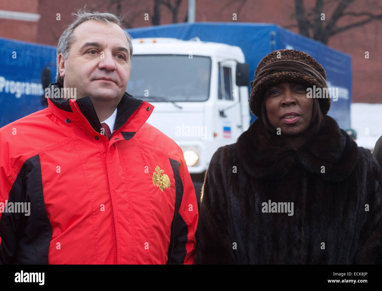 MOSCOW, RUSSIA. DECEMBER 16, 2014. United Nations World Food Programme Executive Director Ertharin Cousin (R) and - Stock Image