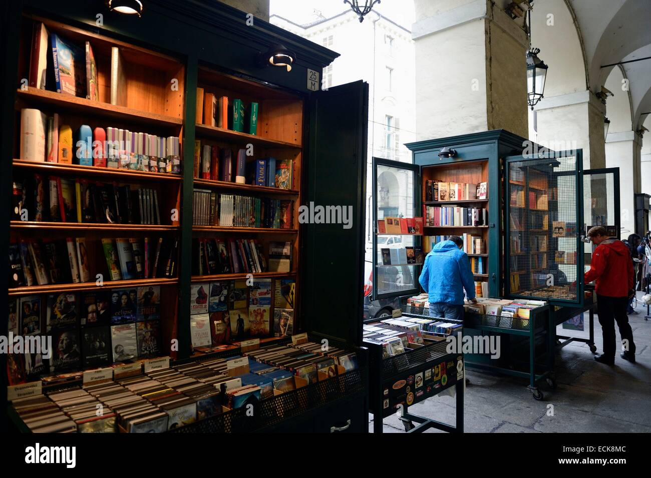 Italy, Piedmont, Turin, booksellers of Via Roma - Stock Image
