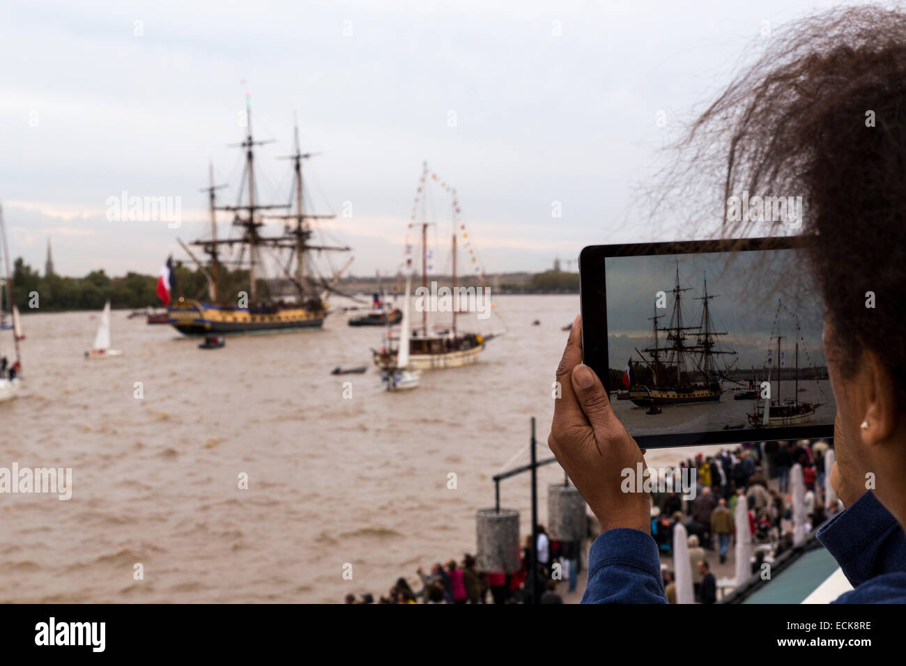 France, Gironde, Bordeaux, area listed as World Heritage by UNESCO, the arrival of Hermione in Bordeaux - Stock Image