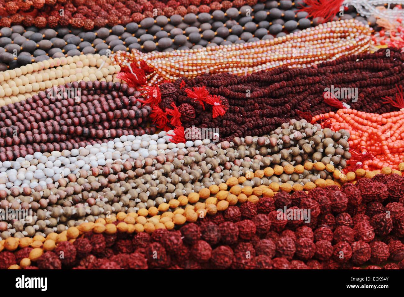 Rudraksha mala or prayer beads Stock Photo