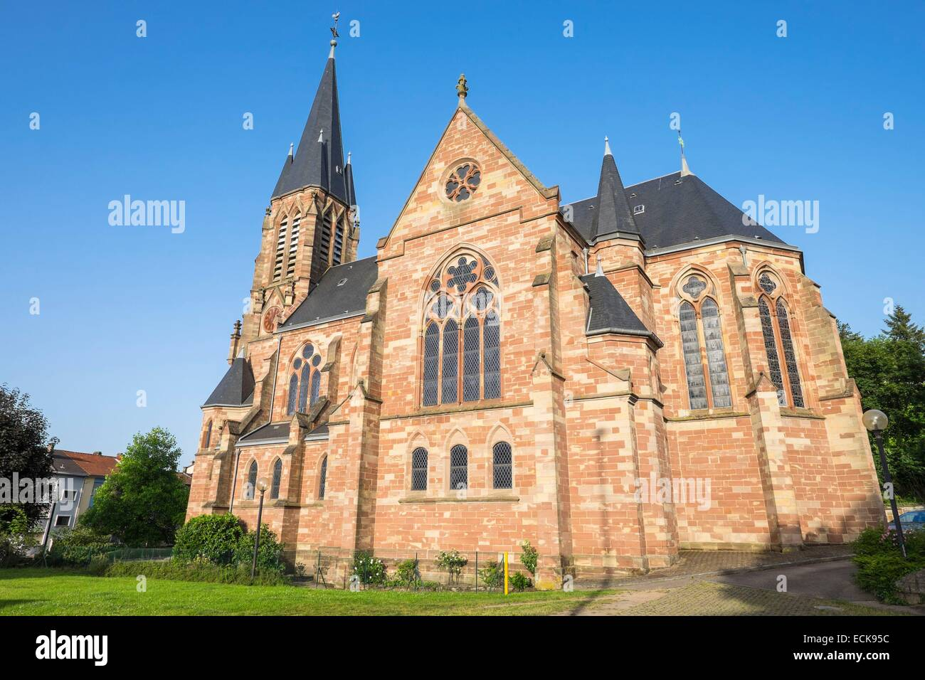 France, Moselle, Forbach, the neo-gothic protestant church - Stock Image
