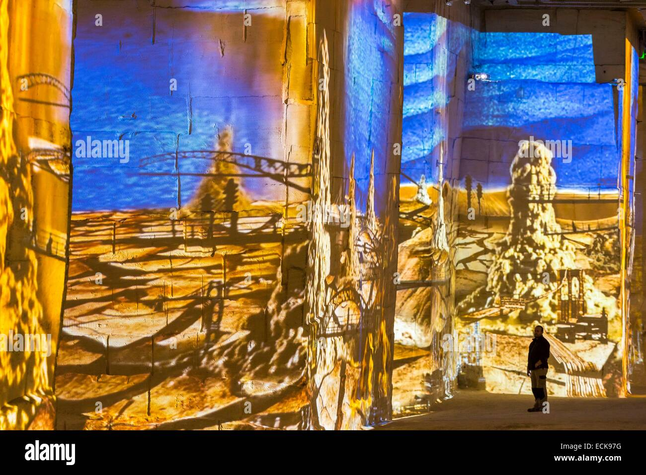 France, Bouches du Rhone, Les Baux de Provence, Careers Light show Gianfranco Iannuzzi, the invisisbles cities - Stock Image