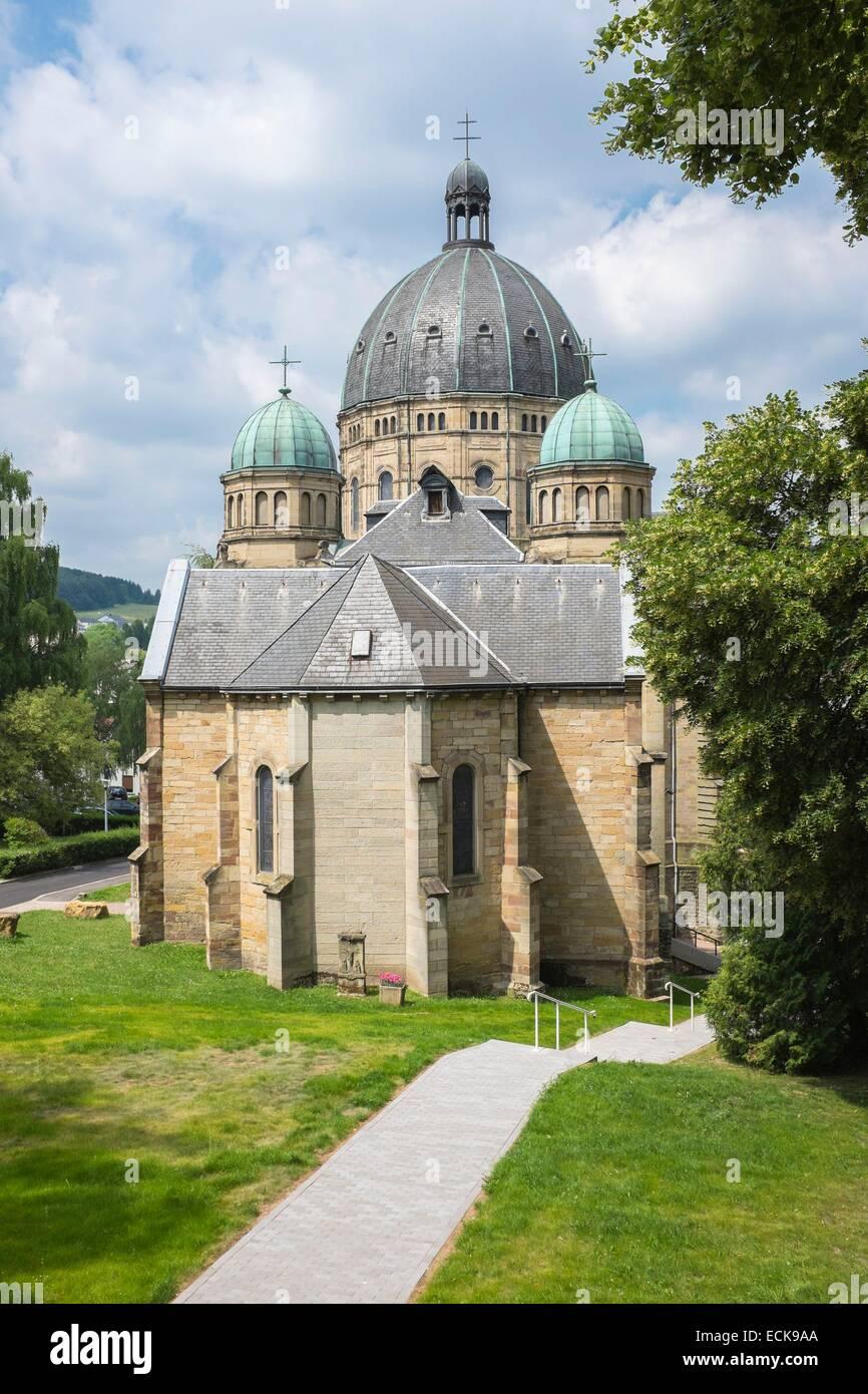 France, Moselle, Saint-Avold, Notre-Dame-de-Bon-Secours basilica, Romanesque Revival style - Stock Image