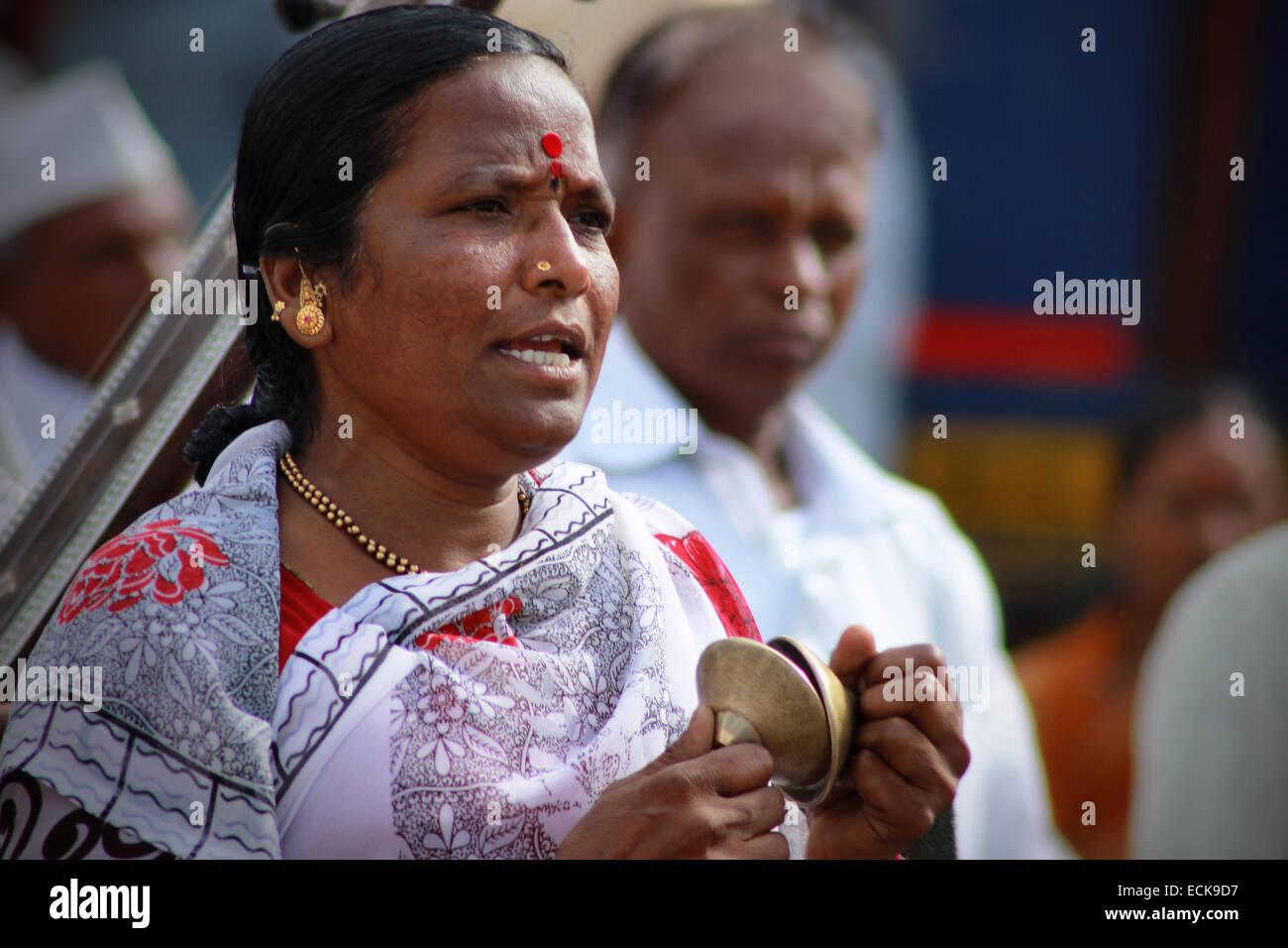 Pilgrims or wari at Pandarpur yatra Stock Photo
