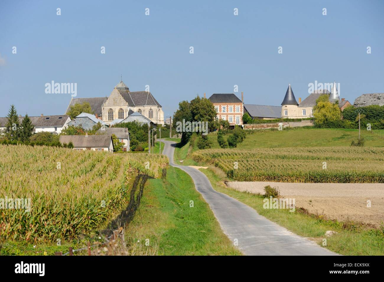 France, Ardennes, Sery, view of the curch and the castle - Stock Image