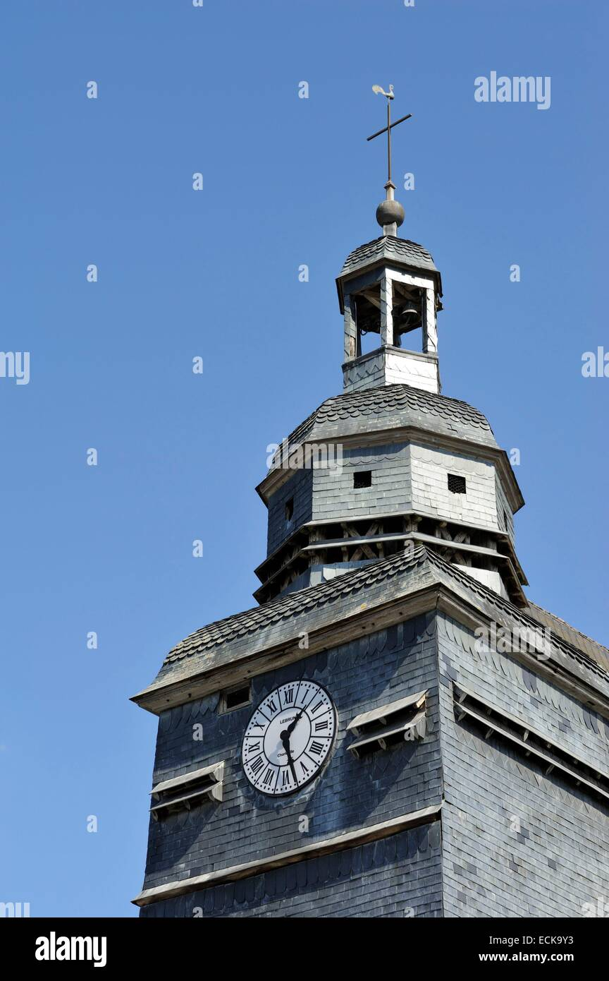 France, Ardennes, Wasigny, Saint Remi church, bell tower and its clock - Stock Image