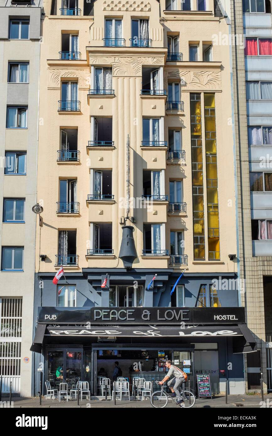 France, Paris, La Fayette street, Peace and Love Hostel, hostel with view over Saint-Martin canal Stock Photo