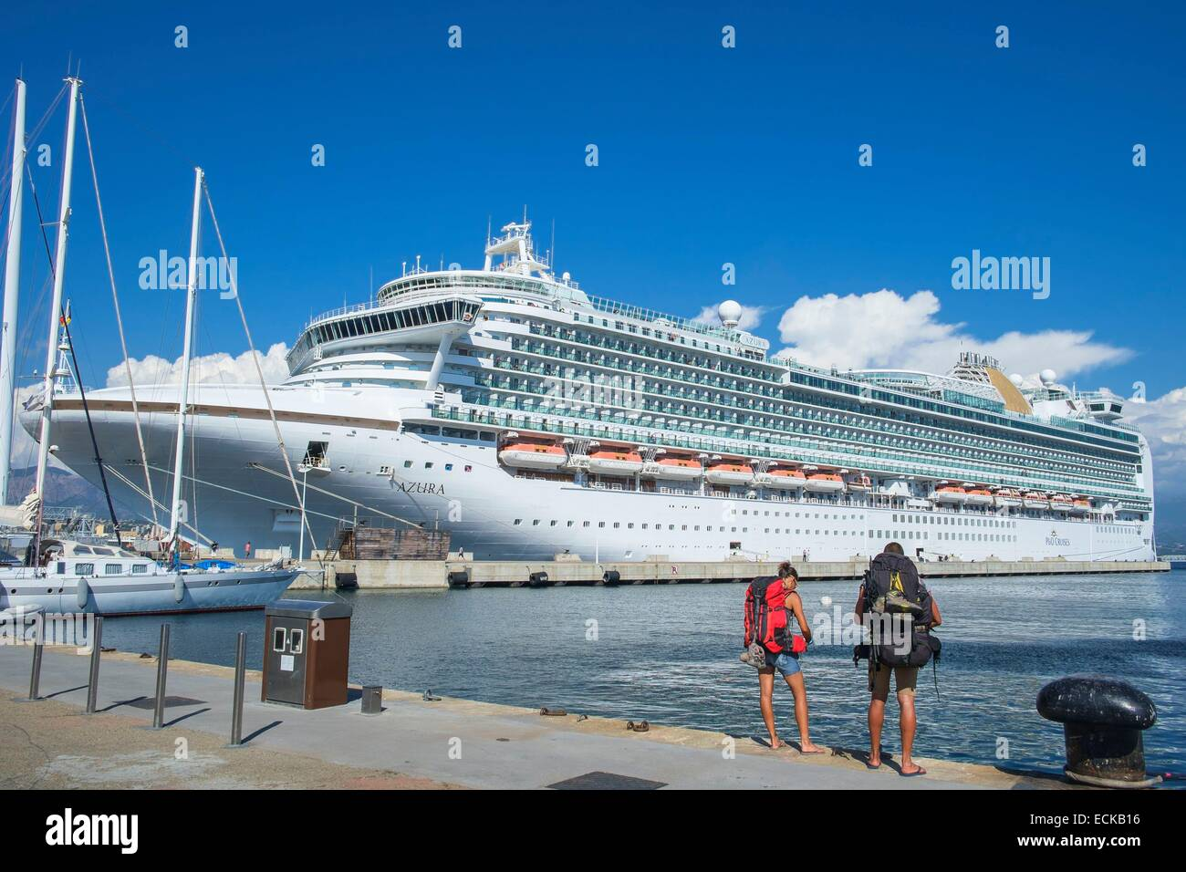France, Corse-du-Sud, Ajaccio, Azura cruise boat is one of the largest of the company P&O Cruises - Stock Image
