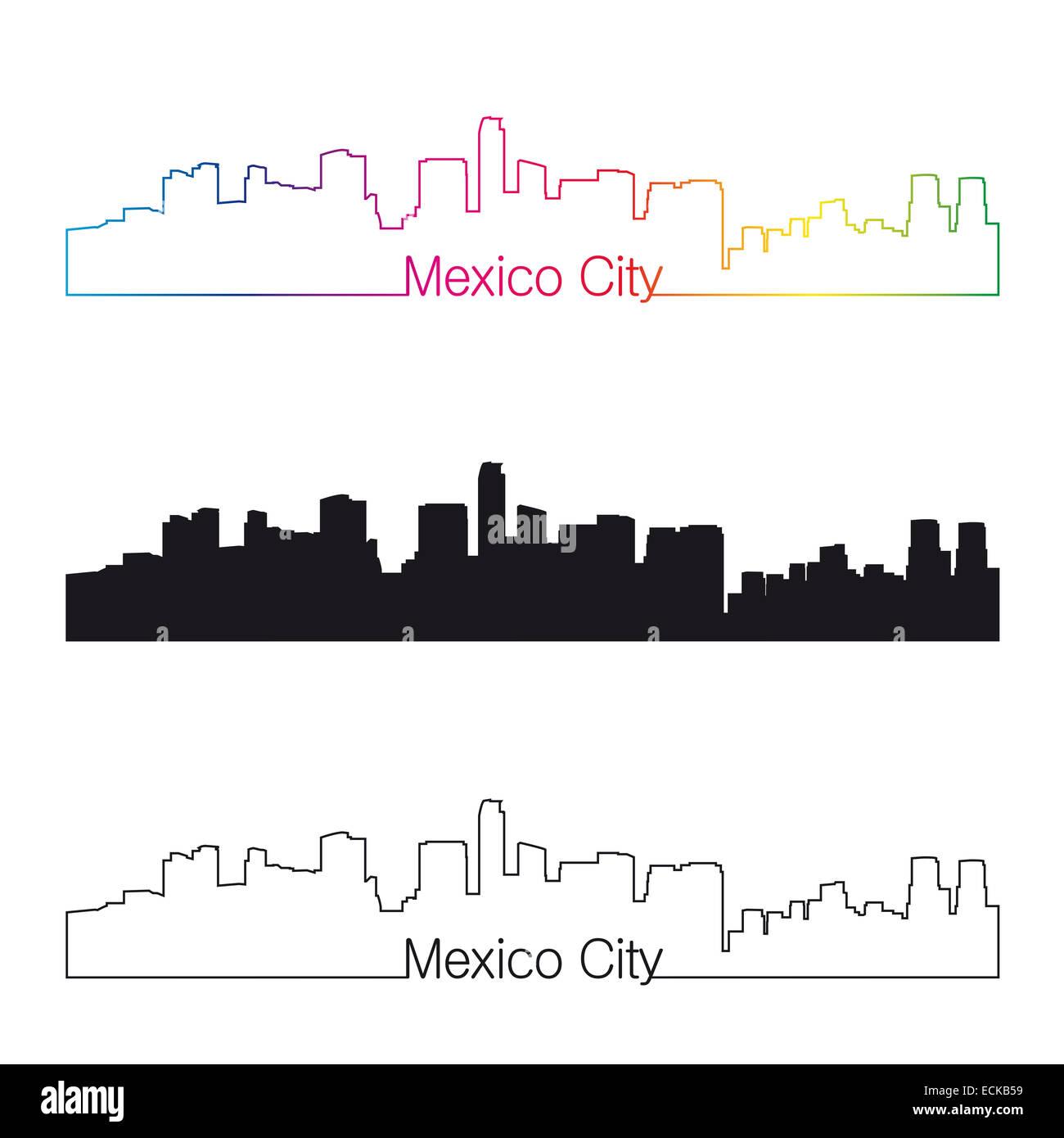 Mexico City skyline linear style with rainbow - Stock Image