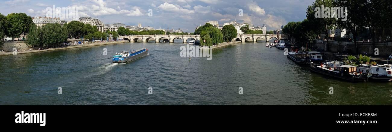 France, Paris, the Seine, Ile de la CitΘ, Pont Neuf from the Pont des Arts - Stock Image