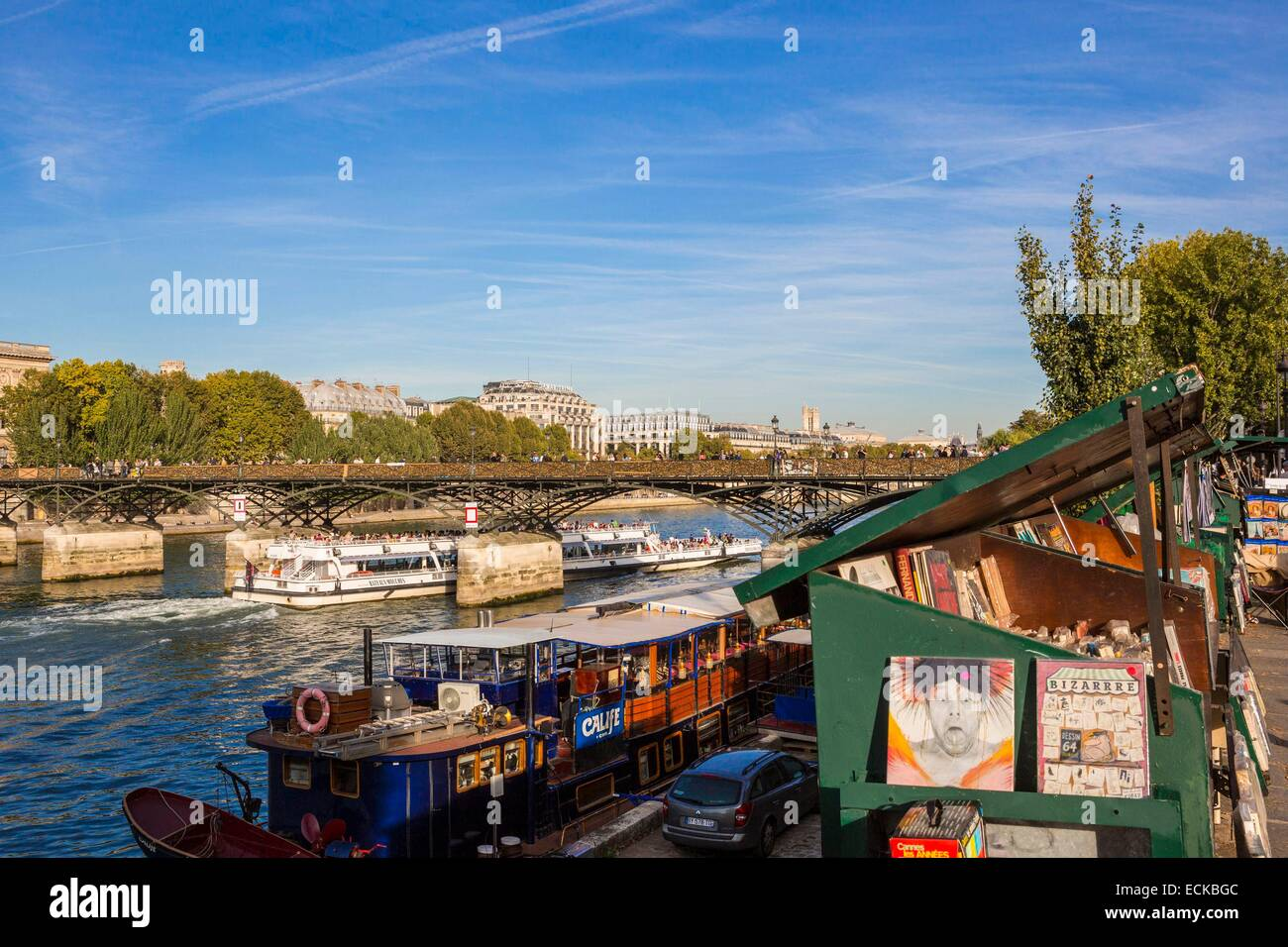 France, Paris, listed as a UNESCO World Heritage areas, booksellers - Stock Image