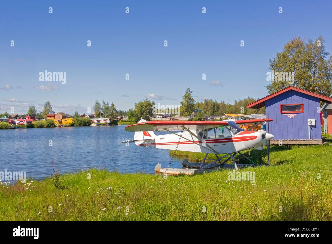 United States, Alaska, Anchorage, lake Hood, seaplane base - Stock Image