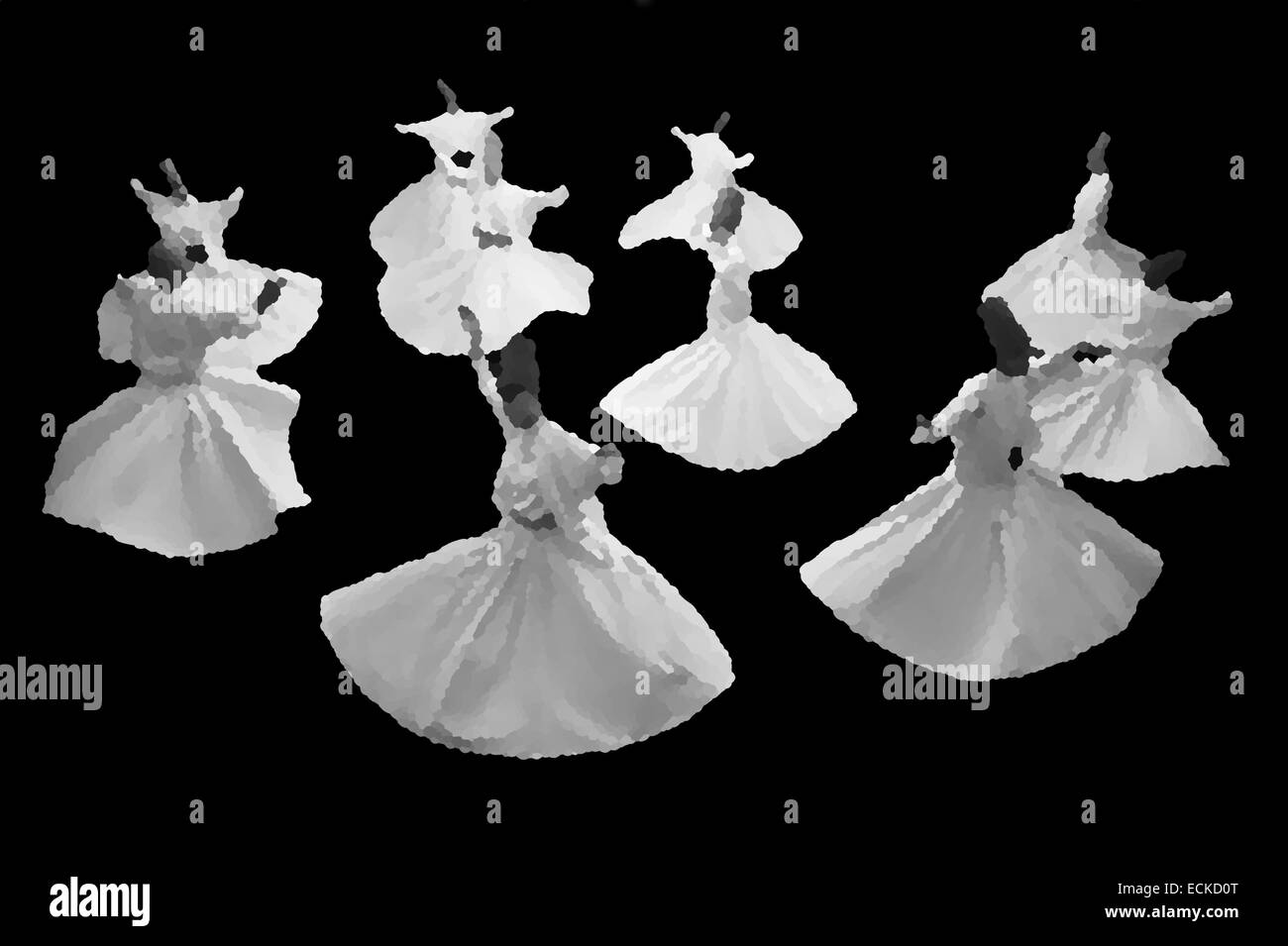 Whirling mevlevi dervis in worship show Galata Istanbul. - Stock Image