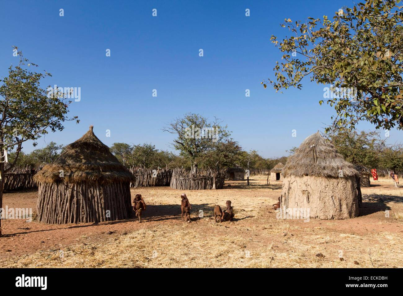 Namibia, Kunene region, Kaokoland, Himba village near Kamanjab, Himba children in front of a hut Stock Photo