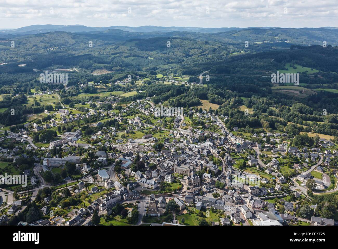 France, Correze, Egletons, the town before Limousin hills (aerial view) - Stock Image