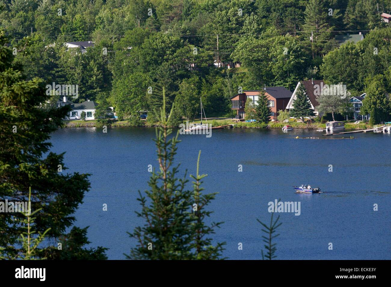 Canada, Quebec, Mauricie, Grandes-Piles, navigation on the Saint-Maurice River - Stock Image
