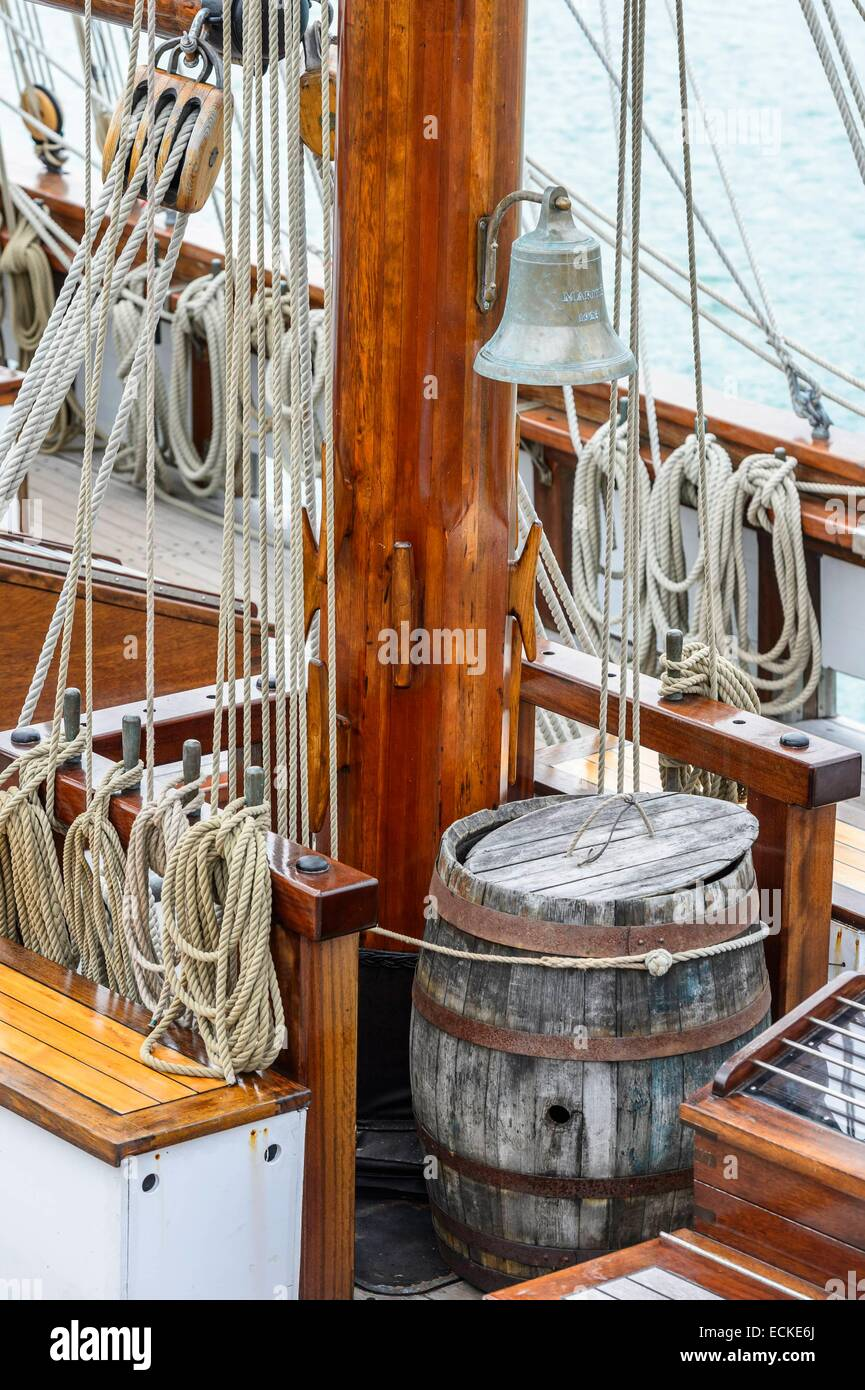 France, Manche, Cotentin, Granville, Le Marite, three masted schooner built in 1921 in Fecamp, was the last French seaworthy Terre Neuvier and the largest wooden sailing ship of the French heritage Stock Photo