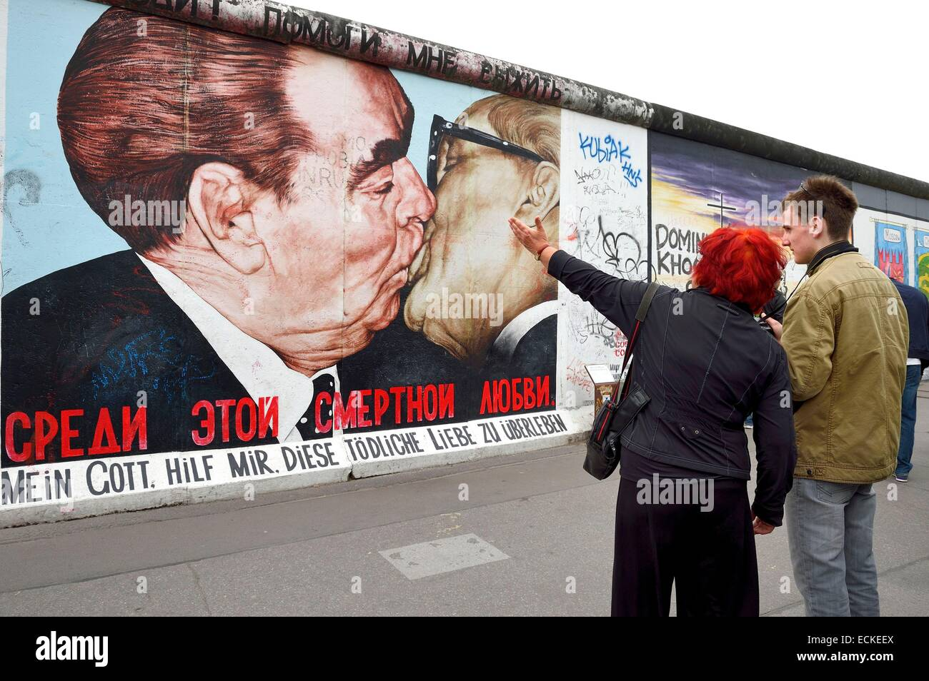 Germany, Berlin, Friedrichshain-Kreuzberg, East Side Gallery, The Wall, work dating from the 1990's, renovated - Stock Image