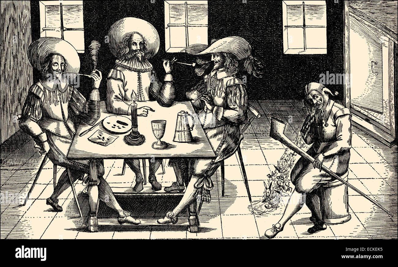 A leaflet against smoking, Germany, Europe, 17th century, ein Flugblatt gegen das Rauchen in Deutschland, Europa - Stock Image