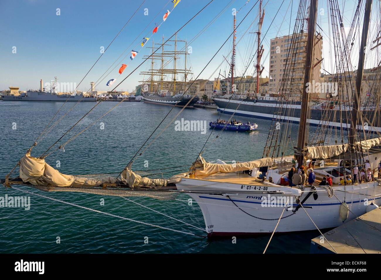 France, Herault, Sete, Quay of Commander Samary, Escale a Sete Festival, Catalan schooner Santa Eulalia with the - Stock Image
