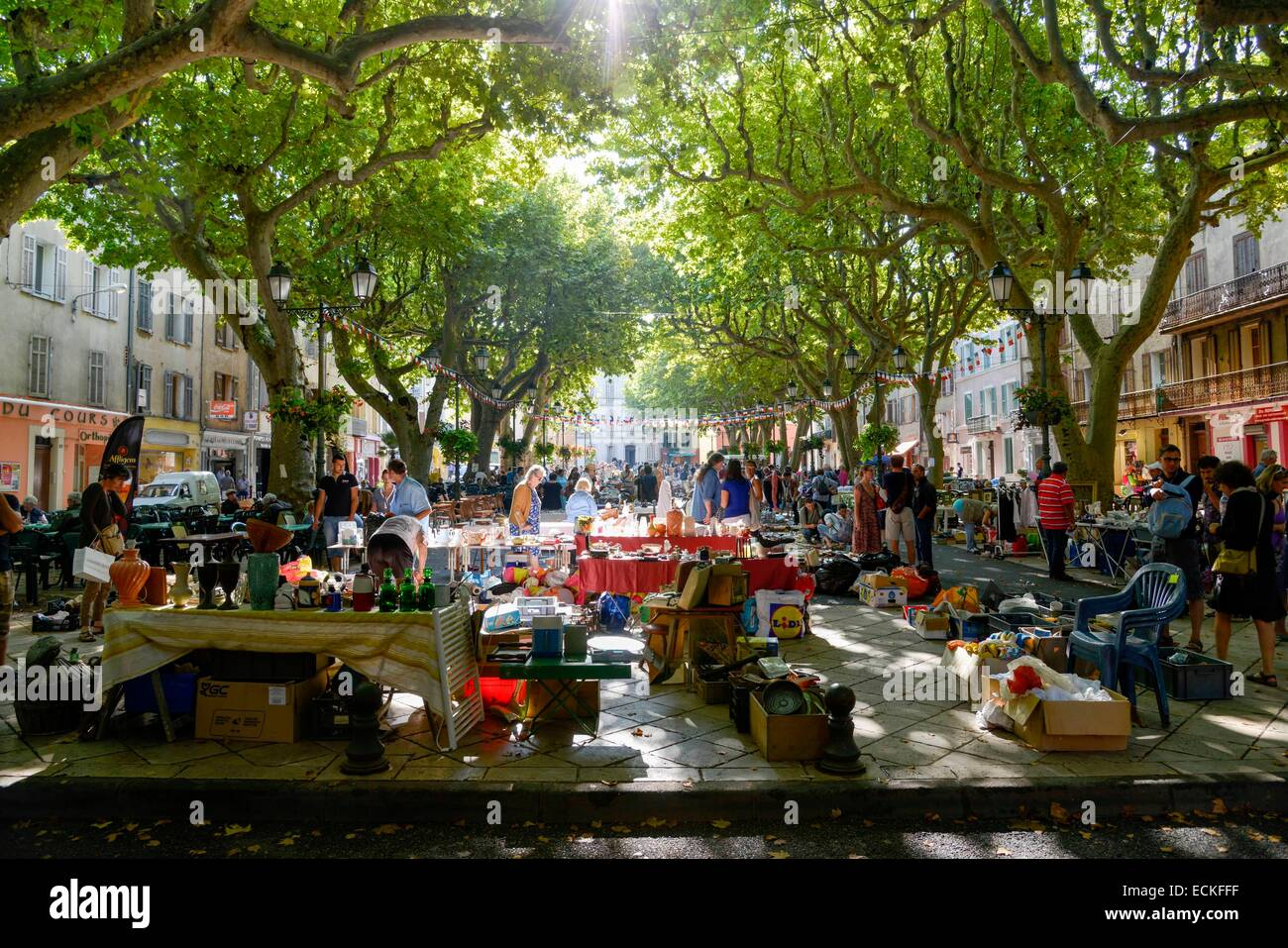France, Var, Salernes, Theodore Bouge Courts, secondhand trade under plane trees - Stock Image