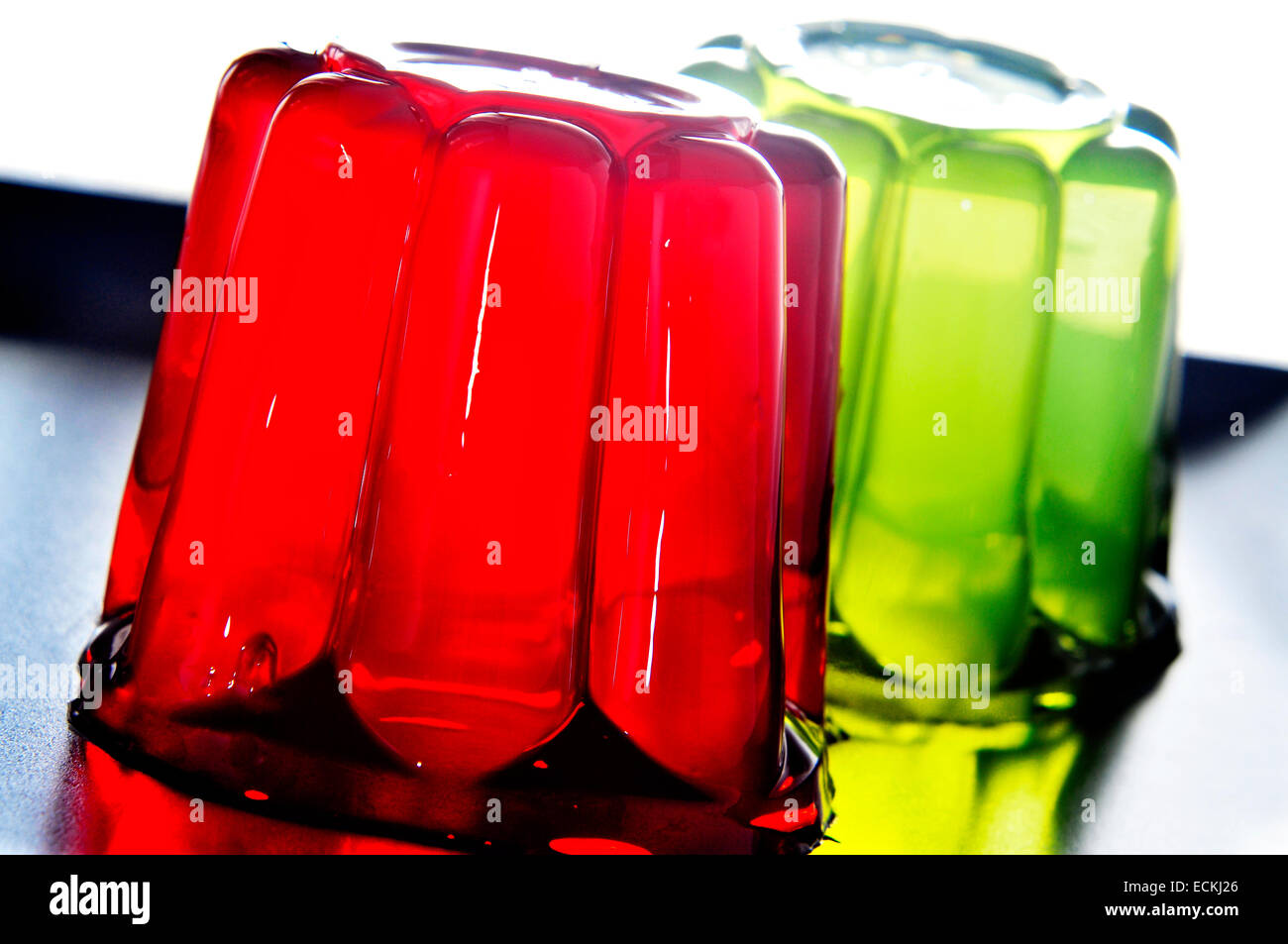 closeup of a plate with refreshing gelatin desserts of different flavors and colors - Stock Image