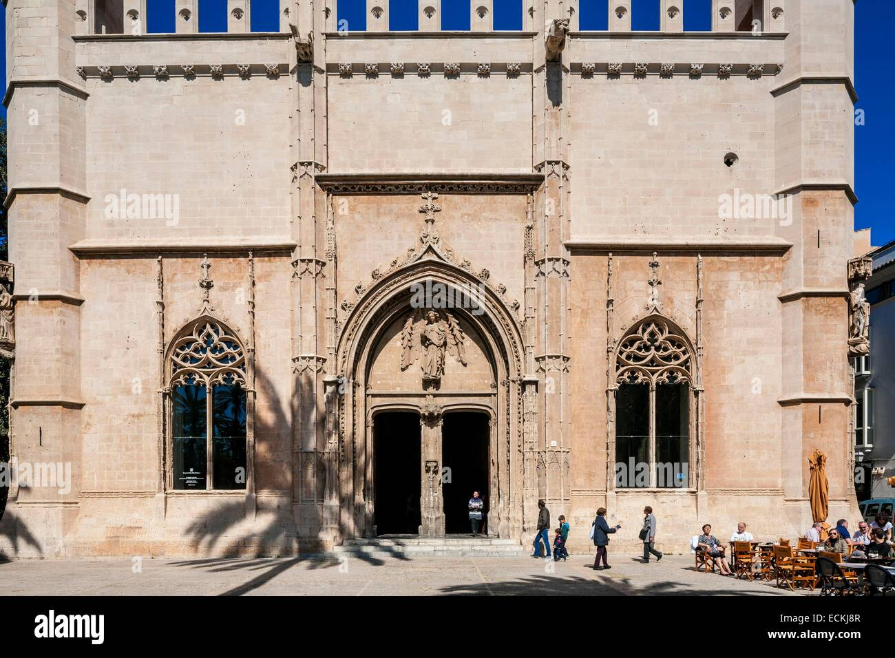 Spain, Balearic Islands, Majorca, Palma de Mallorca, Sa Llotja, Loge des Marchands (15th century) Gothic style that Stock Photo
