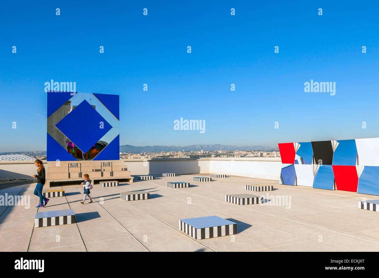 France, Bouches du Rhone, Marseille, 9th arrondissement, the radiant city of the architect Le Corbusier, exhibition - Stock Image