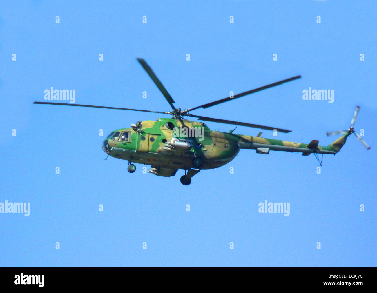 Military helicopter in the air - Stock Image