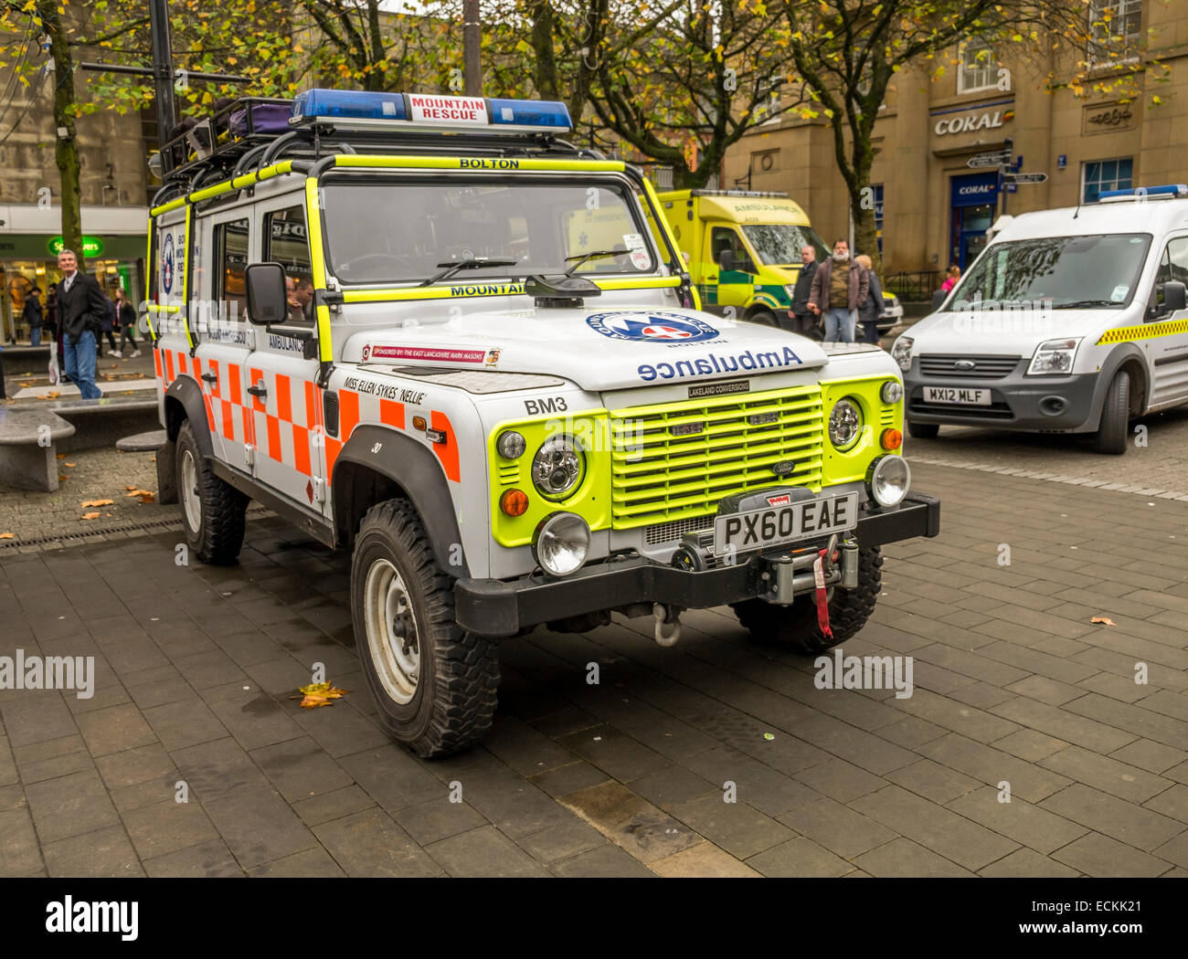 Emergency Mountain Rescue Ambulance parked up in the middle of Bolton town centre. - Stock Image