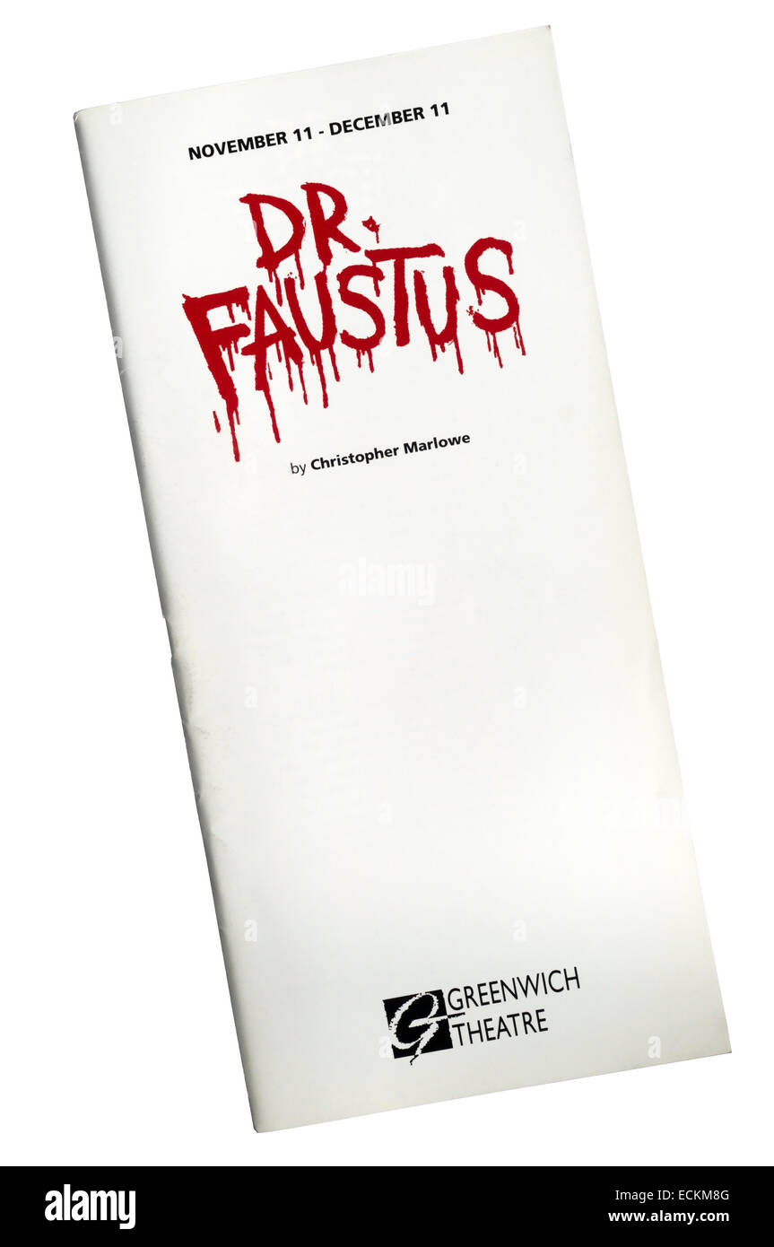 Programme for the 1993 production of Dr Faustus by Christopher Marlowe at Greenwich Theatre. - Stock Image