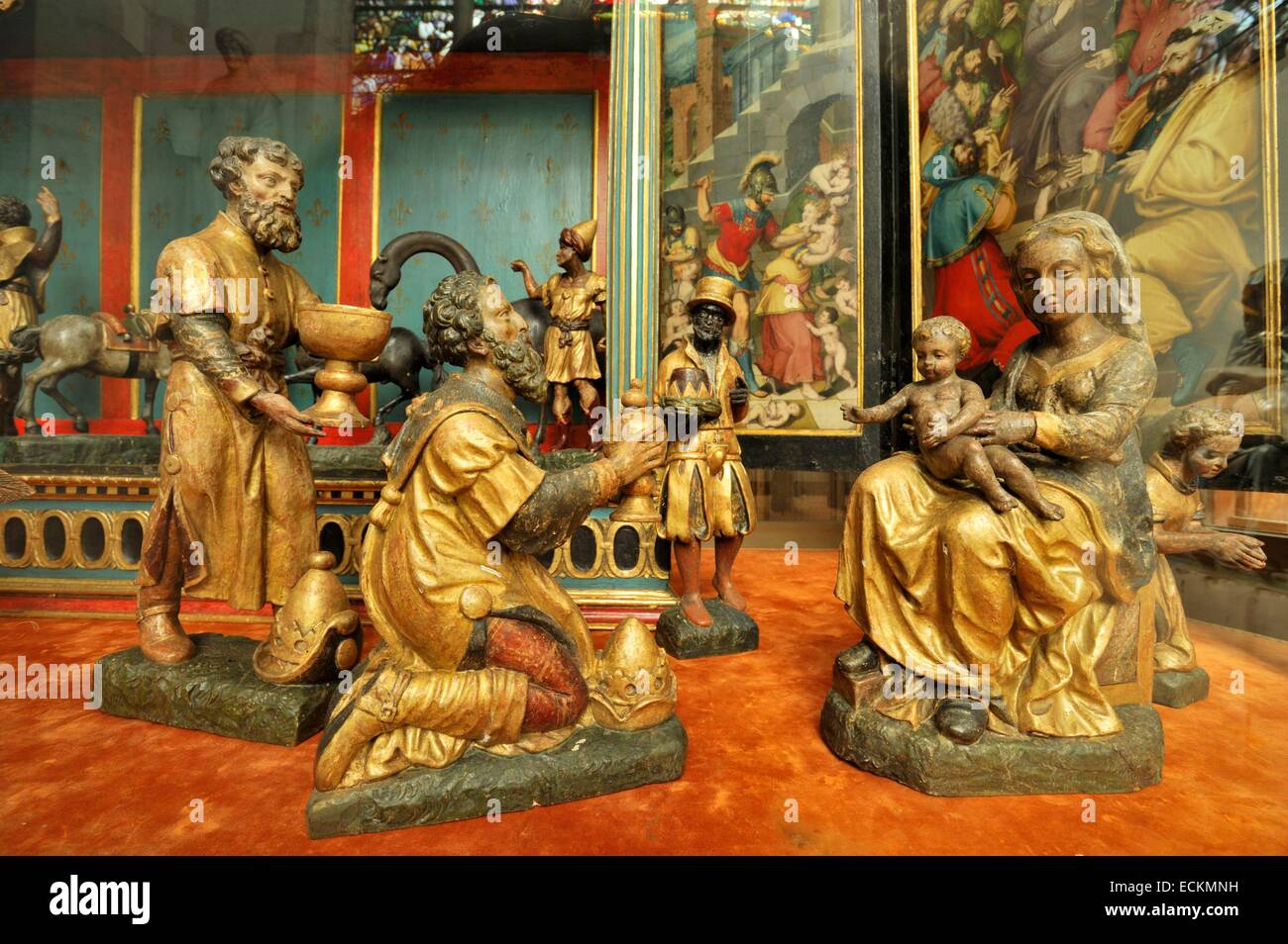 France, Aube, Chaource, Saint Jean Baptiste church, chapel of Paradise, creche of the 16th century with 22 statues - Stock Image