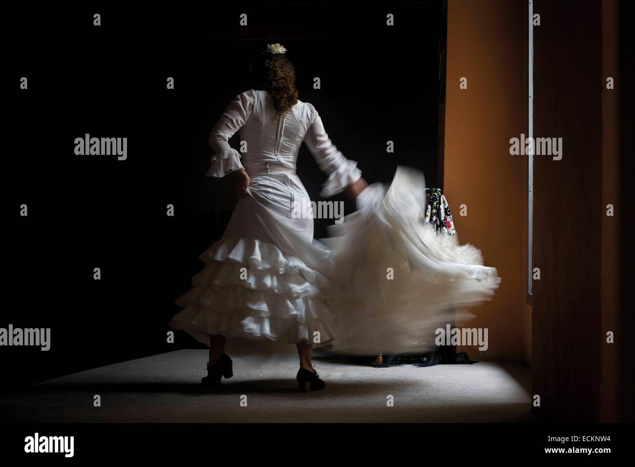 Spain, Andalusia, Seville, flamenco dancer in action - Stock Image
