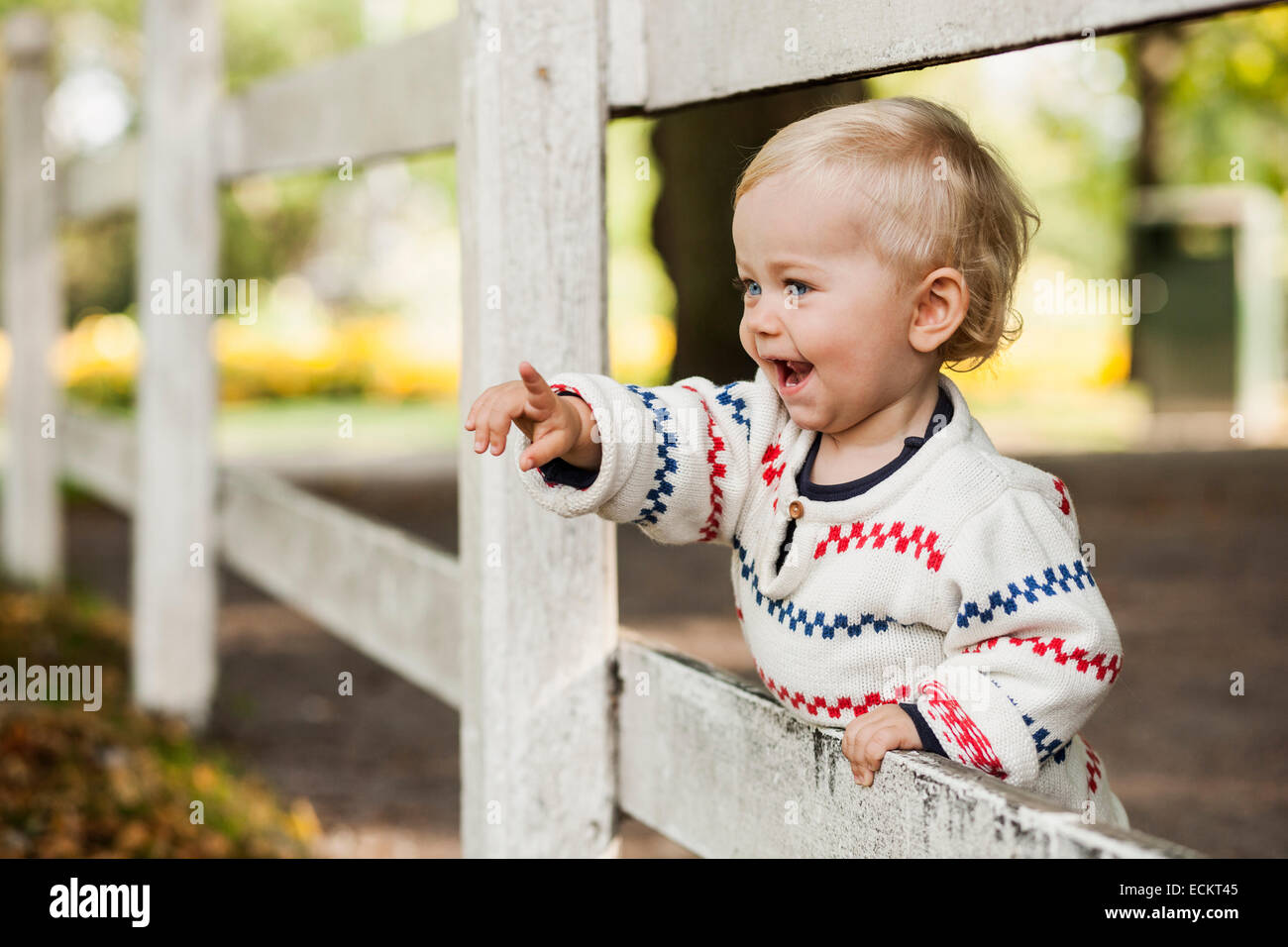 Happy baby girl pointing while standing by wooden fence in park - Stock Image