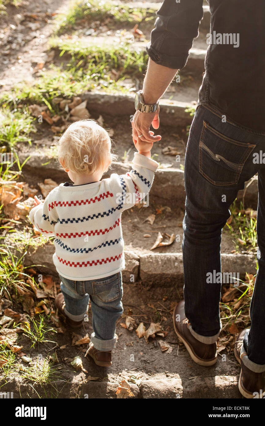 Rear view of father and daughter holding hands while climbing steps in park - Stock Image