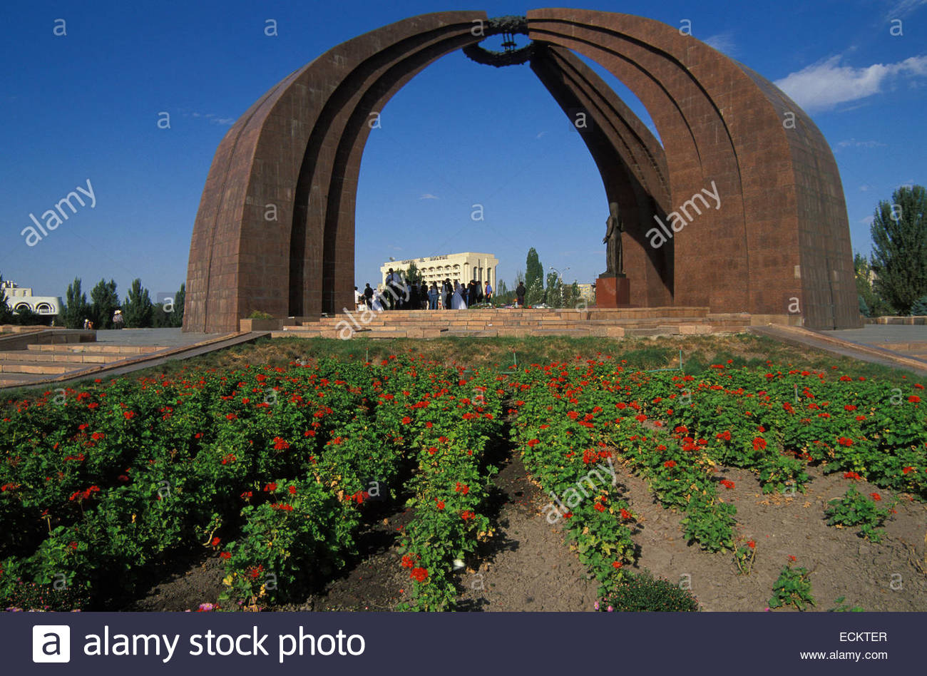 Kyrgyzstan, Friendship arch, soviet architecture in Bishkek. - Stock Image