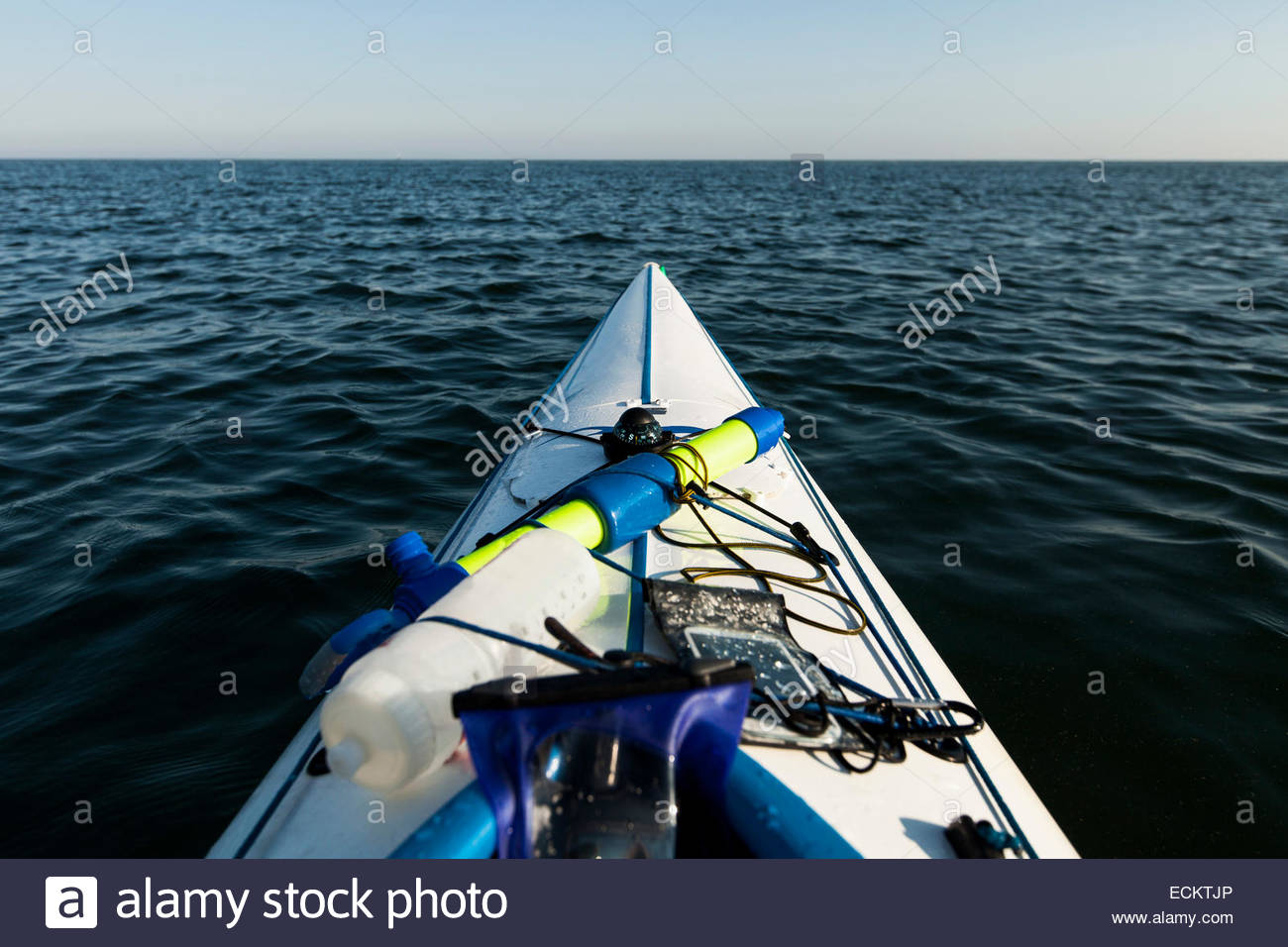 Cropped image of kayak on sea - Stock Image