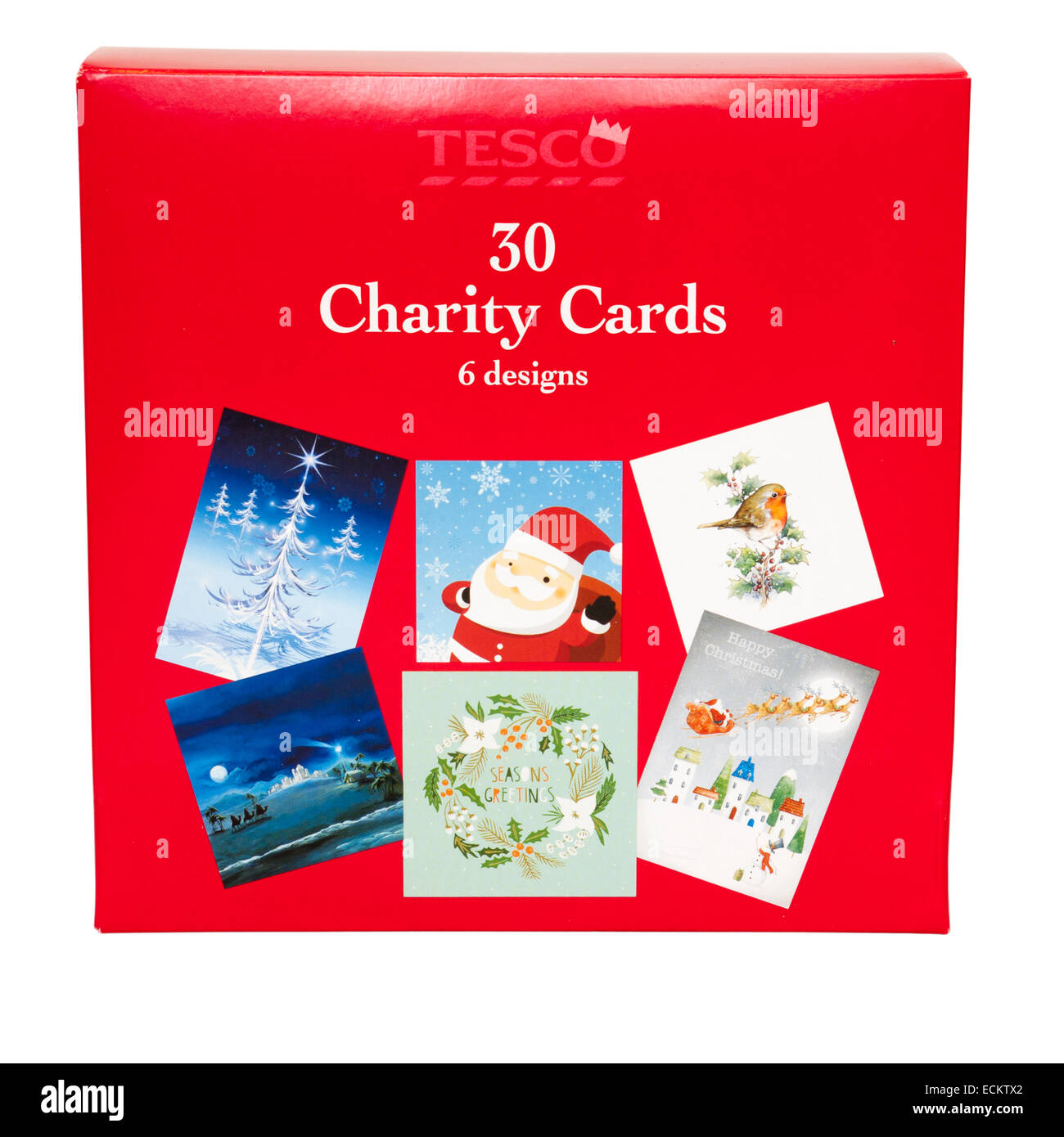 closed shut box of tesco own brand charity christmas cards stock image - Christmas Card Closings