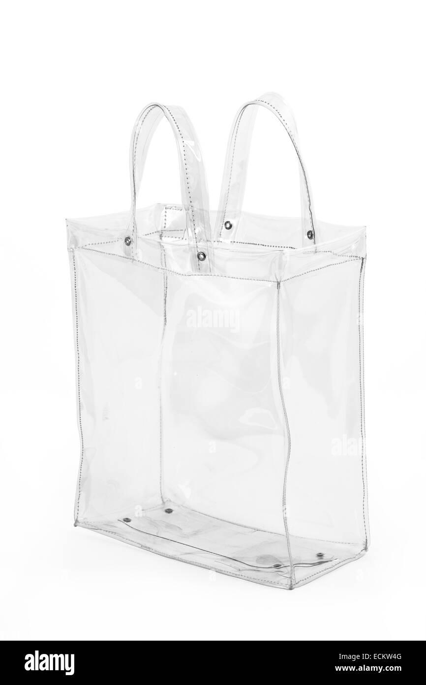 Empty transparent plastic bag, isolated on white background. - Stock Image