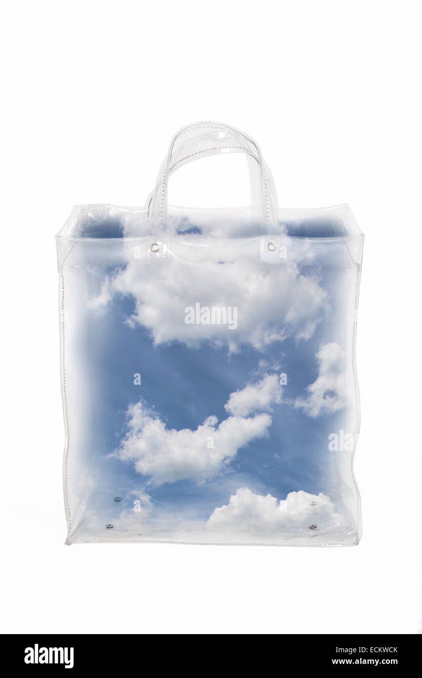 Blue sky with white clouds in transparent bag. - Stock Image