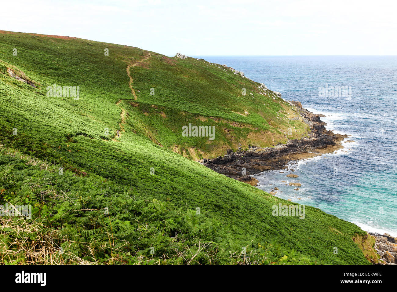 Porthzennor cove Wicca pool Tremedda Cliff and the South west Coast path Zennor head Cornwall England UK Stock Photo