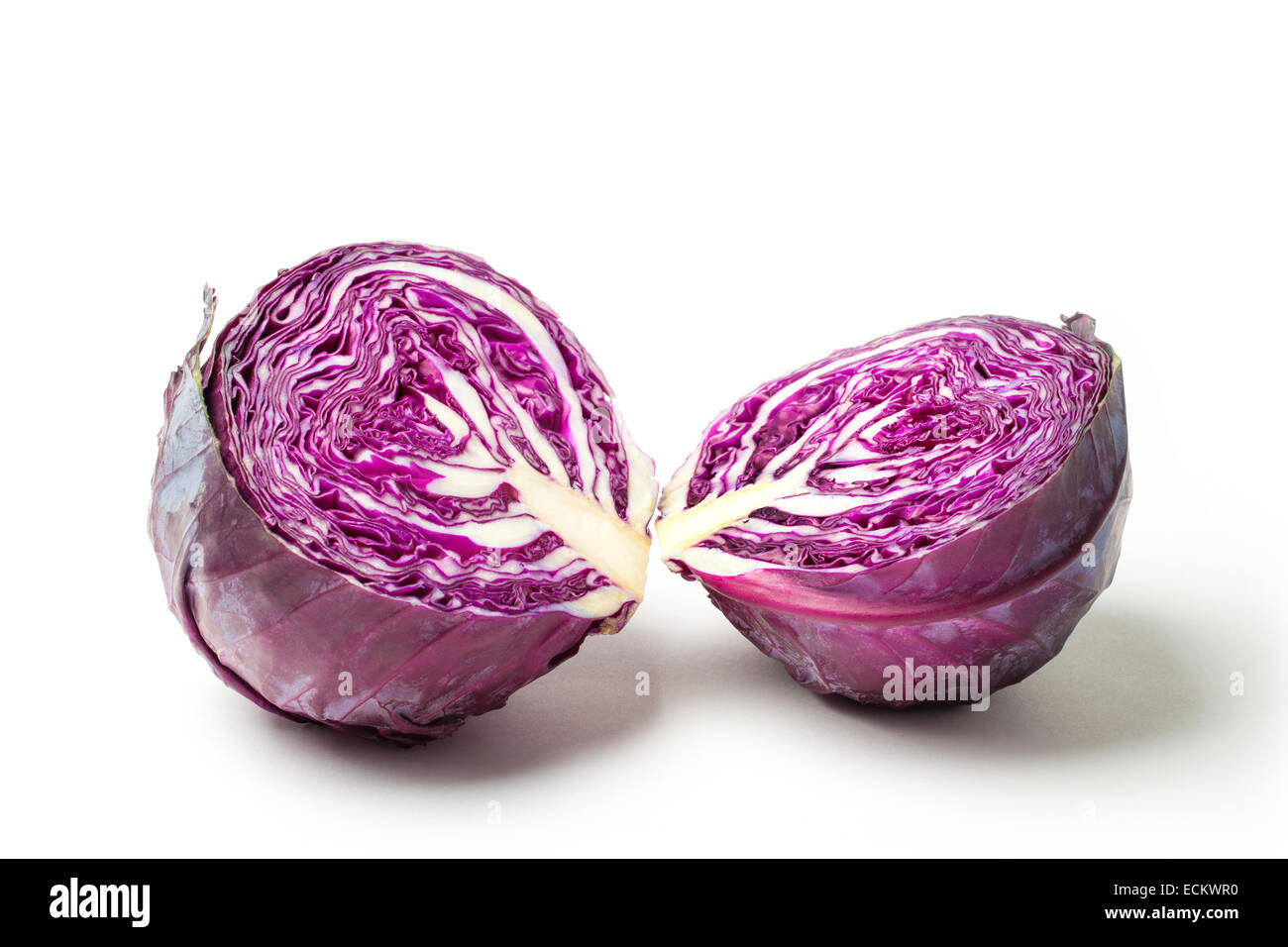 Cut red cabbage isolated on white background. Stock Photo