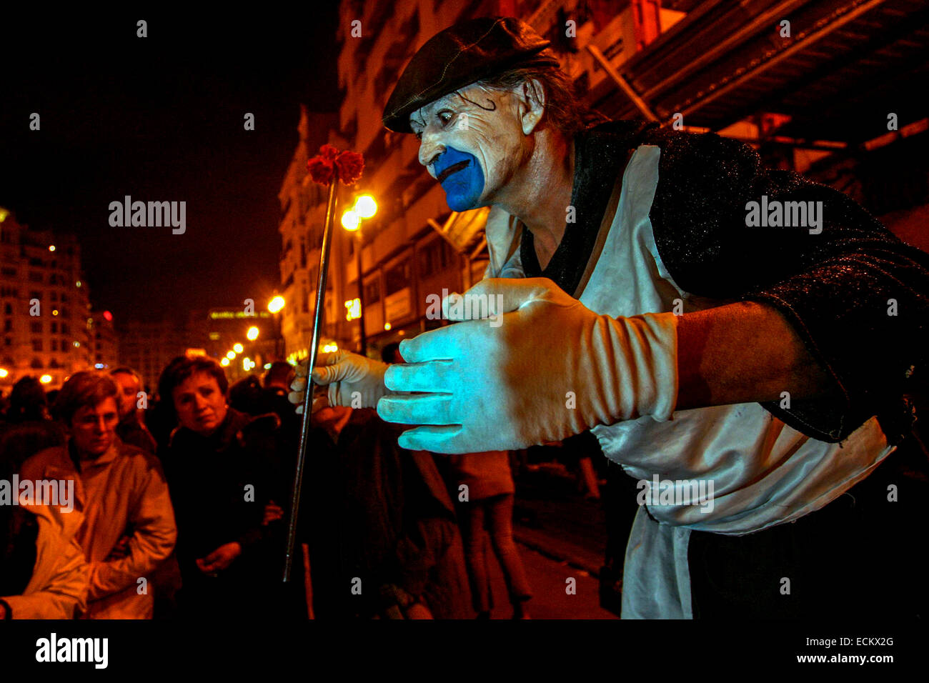 During Las Fallas, a traditional festival in Valencia Spain Mime - Stock Image