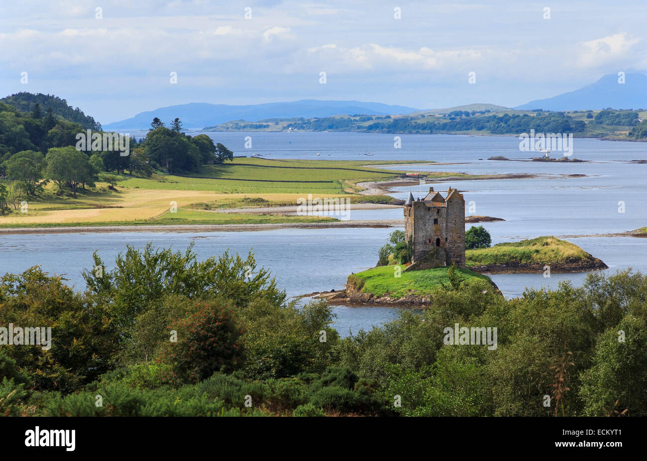 Castle Stalker and Loch Linnhe, in the Western Highlands of Scotland - Stock Image