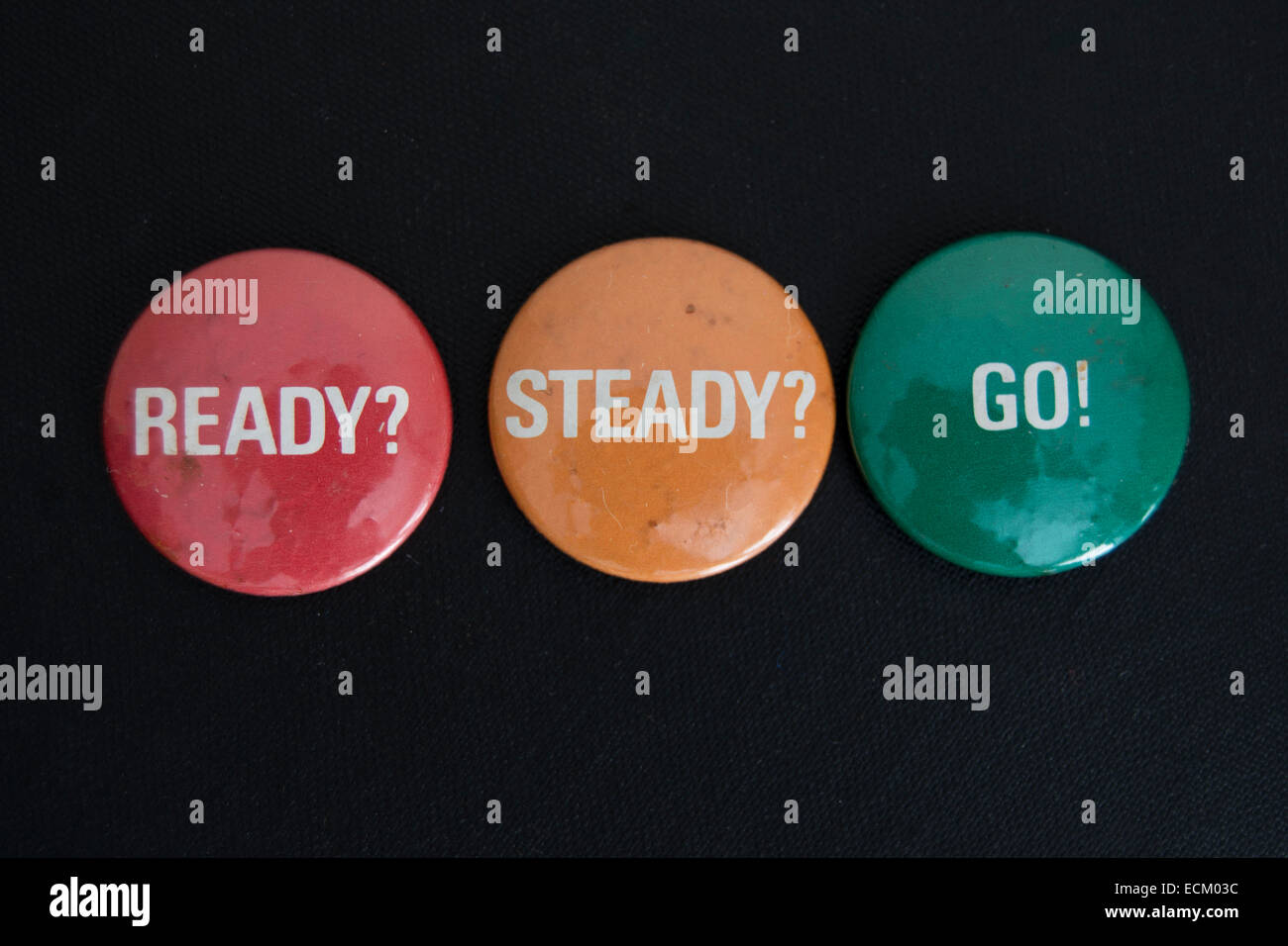 ready steady go lapel badges promoting the single of that name by 1970s british punk band generation x - Stock Image