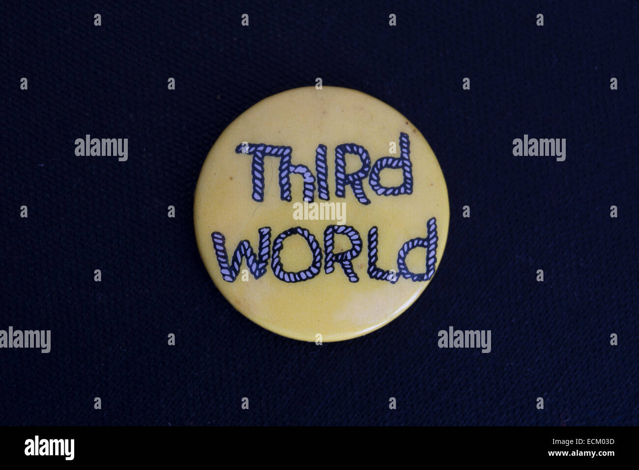 lapel badge promoting third world, a jamaican reggae band founded in the 1970s - Stock Image