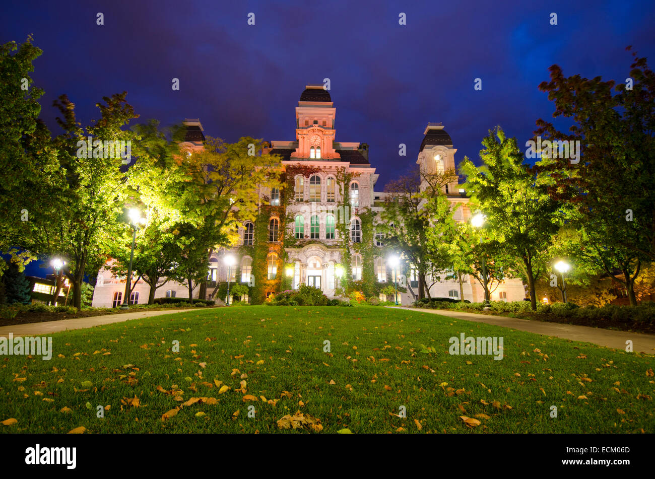 A forceful gust sweeps summer leaves off shedding trees, introducing autumn to the Syracuse University campus. - Stock Image