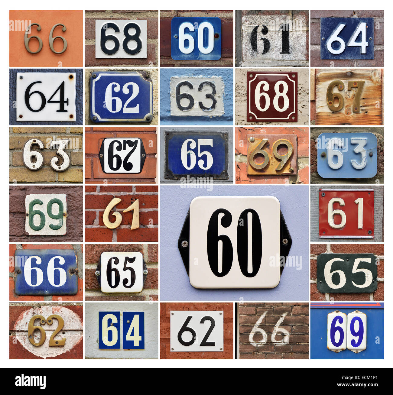 Collage of House numbers 60s - Stock Image