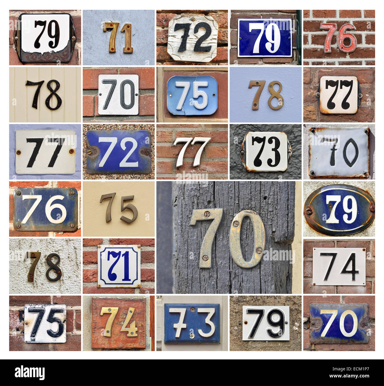 Collage of House numbers 70s - Stock Image