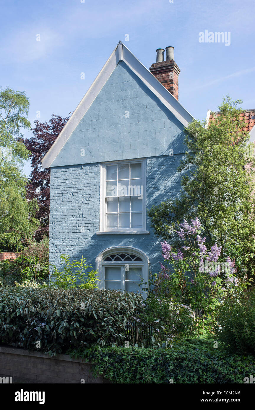 Blue Painted Cottage in Ferry Lane Norwich Norfolk England Stock Photo